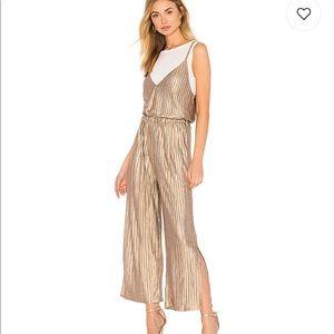 WORN ONCE. Metallic crinkle jumpsuit.